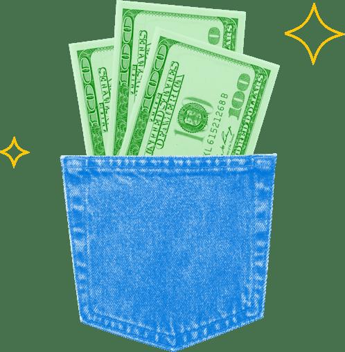 Picture of 100 dollar bills in a denim pocket